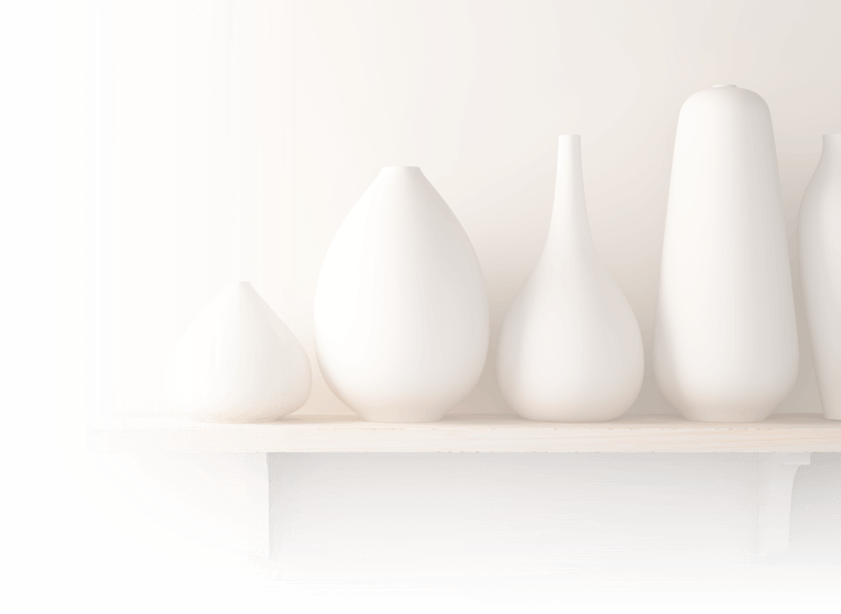 Five white vases on a shelf